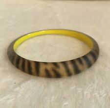 ALEXIS BITTAR Brown Leopard Zebra LUCITE Tapered Bangle Bracelet, Yellow Lining
