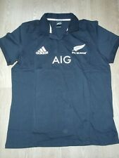 All Blacks New Zealand AIG Adidas Cotton Rugby Shirt Jersey Top Black S new