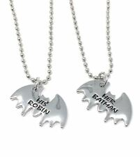 925 Silver Plt 'Her Batman His Robin' Pendant Necklace Dark Knight Friends A