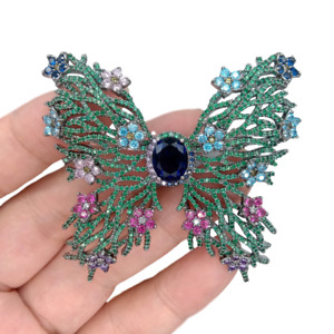 1 PC 56x52mm Butterfly Shape Green Cubic Zirconia Pave Brooch Pin For Women