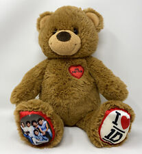 """Build A Bear BABW One Direction 1D 16"""" Heart Brown Teddy Bear Plush"""
