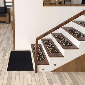 """Ottomanson Ottohome Collection Stair Tread, 8.5"""" X 26"""" Pack of 7, Black Floral"""