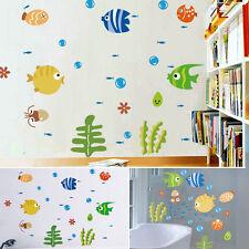 Funny Cartoon Fish Bubble Wall Sticker Bathroom Decor Kids Room Art Decal Diy