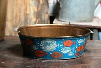 Vintage Kids Wash Tub 70s Ellipse Blue Wash Bassin Metal Basin Can With Fishes