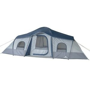 3 Room 10 Person Outdoors Cabin Tent Camping House w/ 2 Side Entrances