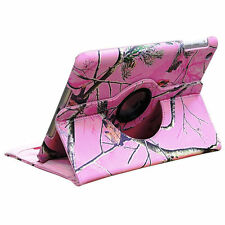 Apple iPad Mini 1 & 2 Pink Camo Real Oak Tree 360 rotating Smart CASE COVER band