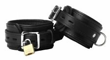 Strict Leather Premium Locking Cuffs Black Bondage Kinky Restraints Pair Handcuf