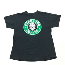STARLORD COFFEE Black T Shirt Size L Large Adult Starbuck Motif Green Graphic