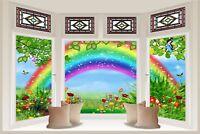 Huge 3D Bay Window Childrens Fairytale Rainbow View Wall Stickers Wallpaper 181