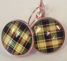 TARTAN PLAID Handcrafted dangle EARRINGS ROSE GOLD Plated Lever BACKS