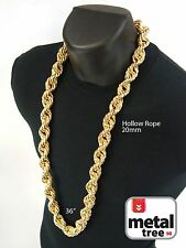 Mens Hip Hop Iced Out 14K Gold Finish Hollow Chunky Rope Chain Necklace 20mm 36""