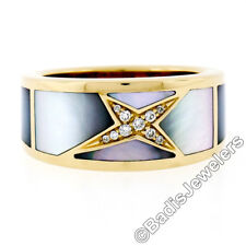 Mauboussin 18k Yellow Gold Diamond Star Inlaid Mother of Pearl Ring w Box Papers