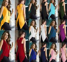 Fashion Women's Ladies Summer Slit Vest Chiffon Blouse Casual Tank Tops T-Shirt