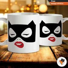 Cat woman Batman cartoon illustration coffee tea mug cup gift birthday present C