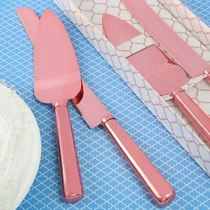 Classic Pink Gold Stainless Steel Wedding Cake Server Set New