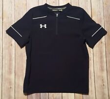 UNDER ARMOUR Black 1/4 Zip Short Sleeve SHIRT Side Zip YSM Youth Boy's Small