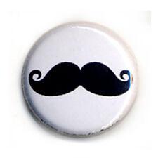 Badge MOUSTACHE 02 NOIRE mustache french français retro vintage funny pin Ø25mm