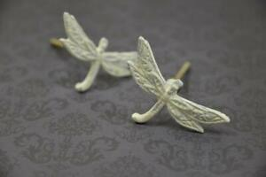 Shabby Chic White Painted Metal Dragonfly Drawer Pull   Iron Cabinet Knob