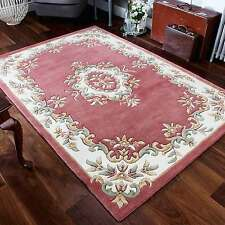Indian Aubusson Rose Pink Wool Traditional Rugs 200x285cm Chinese Design Large