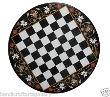 """30"""" White Marble Side Coffee Table Top Chess Marquetry Inlay Playroom Decor Gift"""