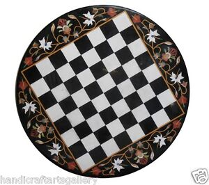 "30"" White Marble Side Coffee Table Top Chess Marquetry Inlay Playroom Décor Gift"