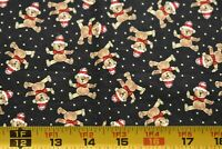 "28"" Long, Small Brown Christmas Teddy-Bears on Black Quilt Fabric, Windham N5145"