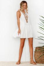 UK Womens Summer Buttons Beach Wear Bikini Cover Up Boho Printed Mini Sun Dress