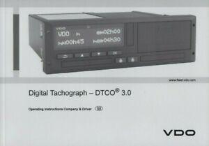 VDO DIGITAL TACHOGRAPH - DTCO 3.0 HANDBOOK MANUAL