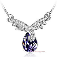 18k White Gold Plated Purple Crystals Wedding Teardrop Necklace N223