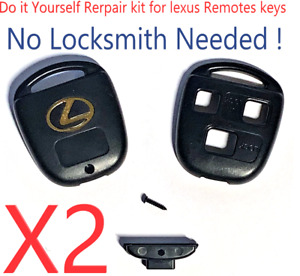 Set of 2 LEXUS Remote Head Key SHELL 3 BUTTON Repair Kit Top Quality USA Seller