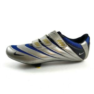 Nike Poggio III Carbon Fiber Men's 12 Cycling Shoes Silver Blue Hook Loop Bolt 3