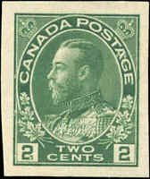 Mint NG 1924 Canada 2c VF IMPERFORATE Scott #137 King George V Admiral Stamp
