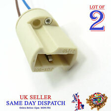 2x G9 Base Ceramic Socket Lamp Holder Cable Halogen Bulb LED Light Fitting