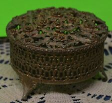 New ListingVintage Metal Floral Covered Footed Dish~For Potpourri~Jewelry~Bobby Pins, Etc.