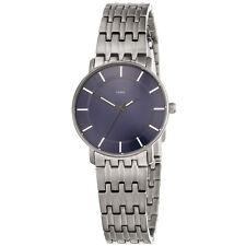 NEU Damen Armbanduhr aus Titan silber blau Uhr Mineralglas 30 mm wassergeschützt