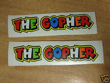 "Valentino Rossi style text - ""THE GOPHER""  x2 stickers / decals  - 5in x 1in"