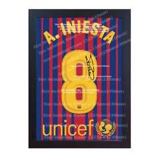Andres Iniesta t shirt Barcelona signed printed on CANVAS 100% COTTON Framed