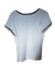 WHITE WITH SEQUINS SHINY BEADS LADIES WHITE TOP T-SHIRT S M 10 12