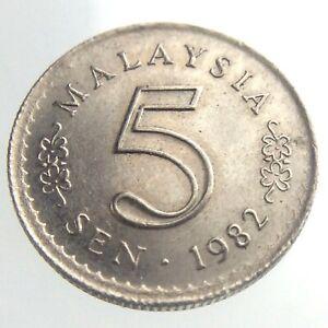 1982 Malaysia 5 Sen Coin KM 2 Copper Nickel Some Lustre U110
