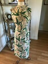 Vintage Hawaiian Dress Silver Hawaii Pure Silk Slim Dress Side Zip Wild Pattern