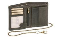 Biker Geldbörse Portmonee Portemonnaie mit Kette LEAS MCL Vintage Leder schwarz