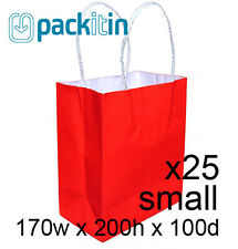 x25 BRIGHT RED paper gift CARRY tote party BAGS with handles SMALL (170 x 200mm)