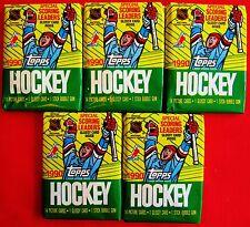5   PACKS Topps Hockey CARDS 1990-91 Old Unopened LOT Gretzky Hull Roy Lemieux ?