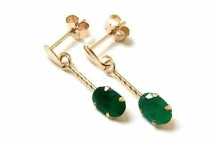 9ct Yellow Gold Emerald Oval Shape Drop Earrings Gift Boxed