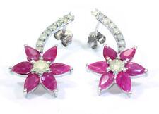 3.54ct diamants et rubis Earrings in 18K or blanc