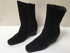 Womens' Aquatalia Black Suede Boots Italian Mid-Calf Wedge Heel Zip - Size 7