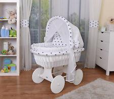 WALDIN Baby Bollerwagen,Stubenwagen,komplett mit Zubehör,Stoffe Weiß/Sterne-blau