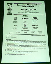 Canadian Mathematics Competition 1993 Gr. 7/8 GAUSS CONTEST Math Test w-Answers