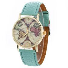 Fashion Women Ladies Gold Watch Neutral Map Graffiti Quartz Dress Wrist Watches