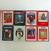 Vintage 70's Lot of 8 Various Artists 8-Track Tapes Dolly, Pride, Fender, Twitty